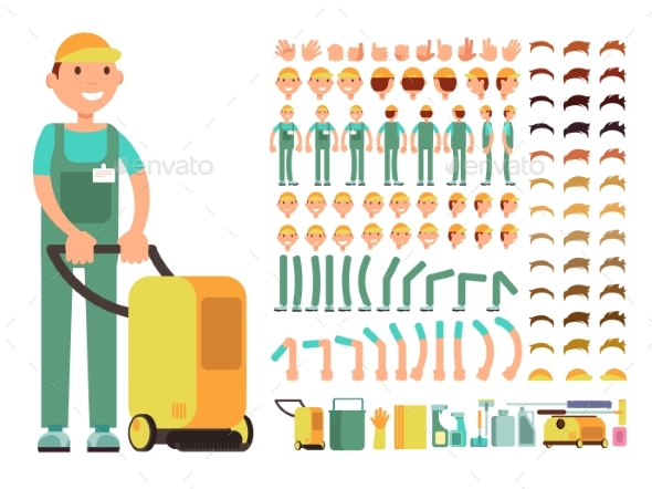 Professional Man Cleaner in Cleaning Service - People Characters