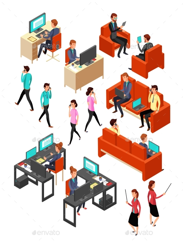 Isometric Business Office People Networking - People Characters