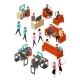 Isometric Business Office People Networking