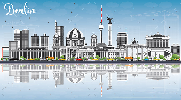 Berlin Skyline with Gray Buildings, Blue Sky and Reflections. - Buildings Objects
