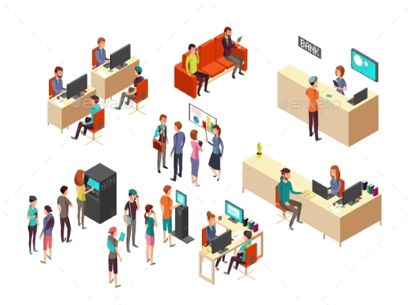 Isometric Bank Clients and Employees for 3d - People Characters