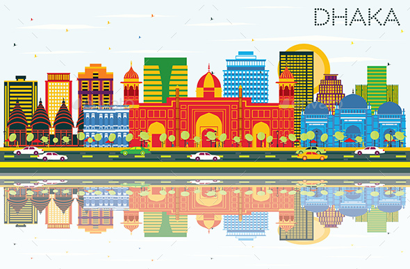 Dhaka Skyline with Color Buildings, Blue Sky and Reflections. - Buildings Objects