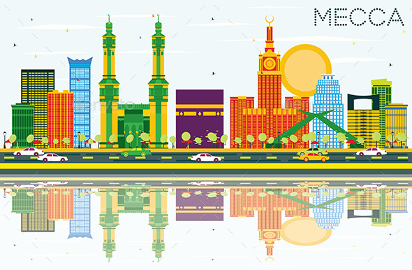 Mecca Skyline with Color Landmarks, Blue Sky and Reflections. - Buildings Objects