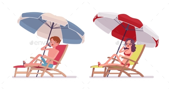 GraphicRiver Man and Woman in a Beachwear Sunbathing 20232220
