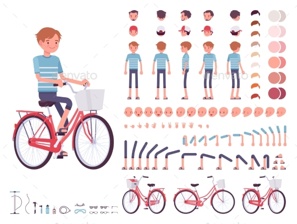 Young Man Cycling City Bike. Character Creation - People Characters