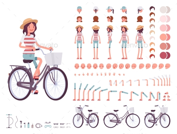 Young Woman Cycling City Bike. Character Creation - People Characters