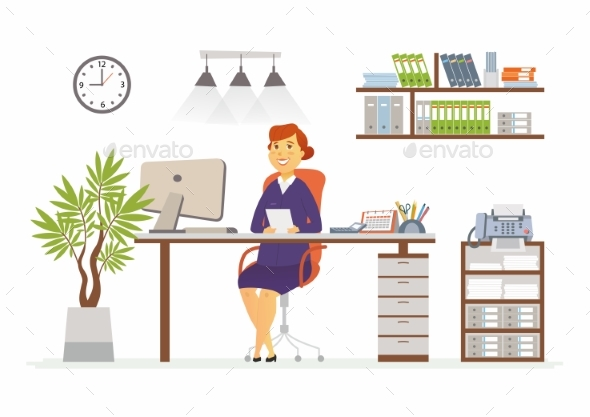 Office Woman - Modern Vector Flat Design - People Characters