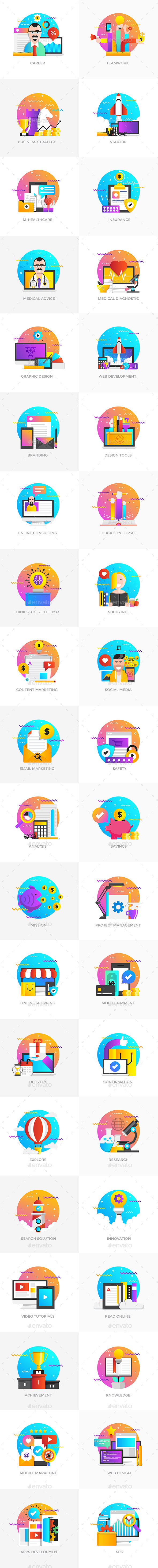 Set of Modern Flat Multi Color Conceptual Icons - Conceptual Vectors
