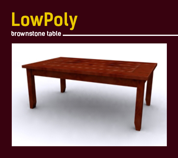Lowpoly 3D brownstone table model - 3DOcean Item for Sale