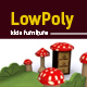 3D lowpoly mushroom Kids room furniture