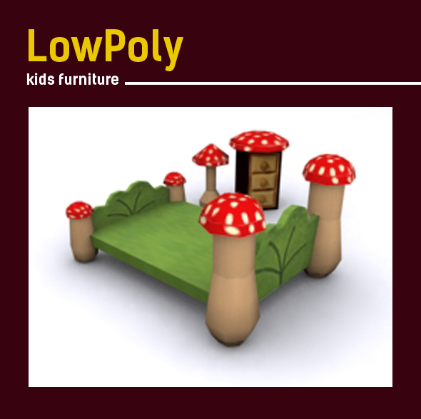 3D lowpoly mushroom Kids room furniture - 3DOcean Item for Sale