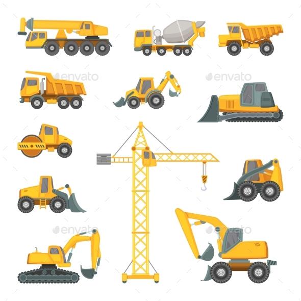 Heavy Construction Machines. Excavator, Bulldozer - Objects Vectors
