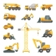 Heavy Construction Machines. Excavator, Bulldozer
