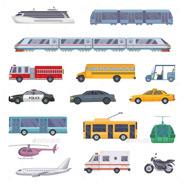 Different Municipal Transportation Set. Vector
