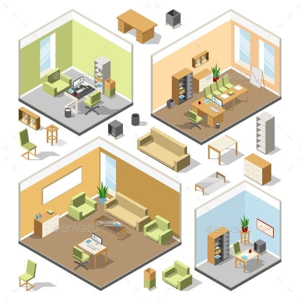 Different Isometric Workspaces with Sectional - Miscellaneous Vectors