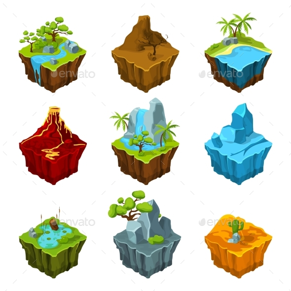 Fantasy Isometric Islands with Vulcans, Different - Web Elements Vectors