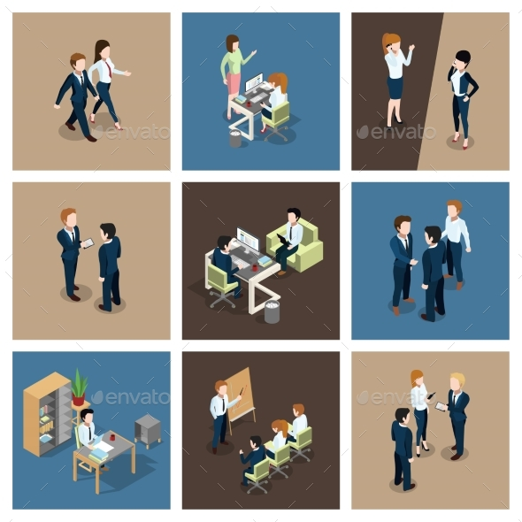 Different Business Situations in Office - People Characters