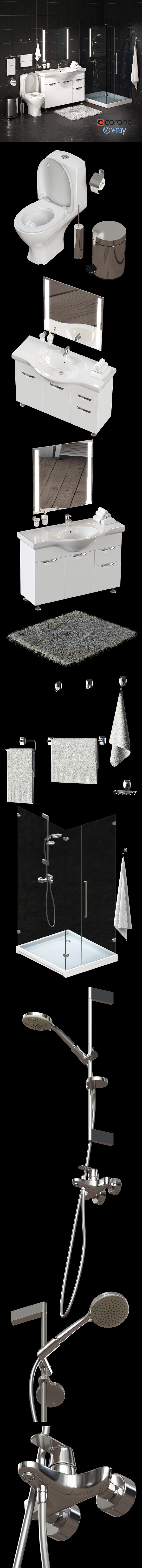 Set Of Bathroom Equipment And Accessories For Bathrooms By Rnax
