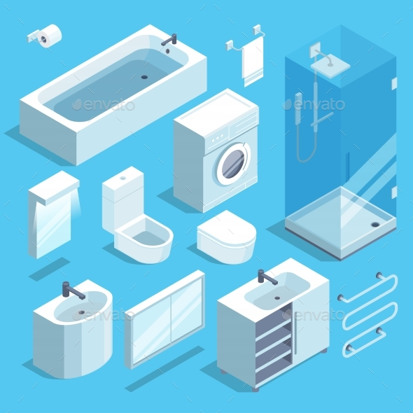 Isometric Furniture Elements Set of Bathroom - Objects Vectors