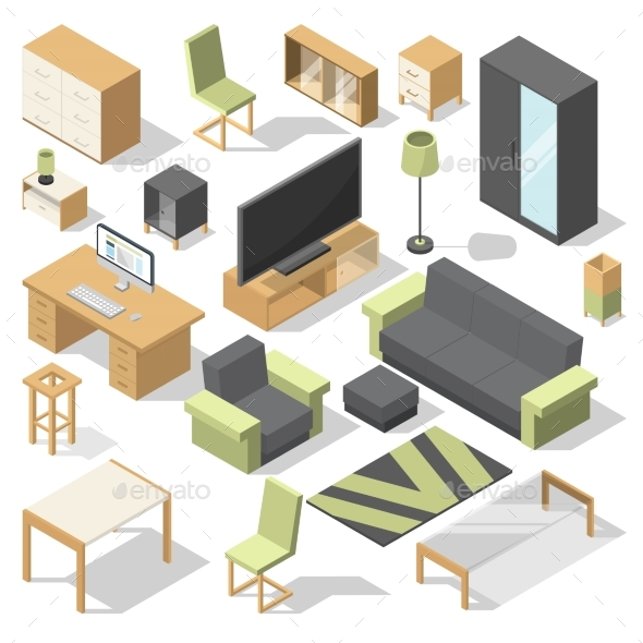 Furniture Set for Bed Room. Vector Isometric - Objects Vectors