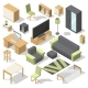 Furniture Set for Bed Room. Vector Isometric