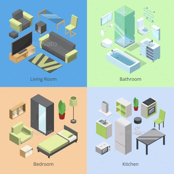 Set of Different Furniture Elements for Rooms - Objects Vectors