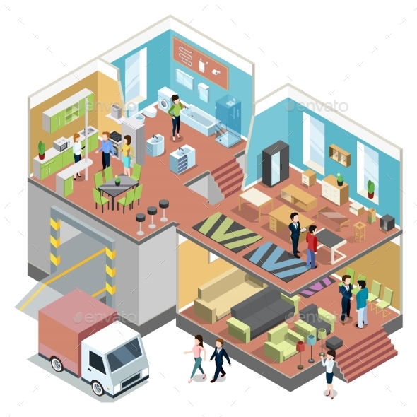 GraphicRiver Big Shopping Center with Interior of Modern 20232698