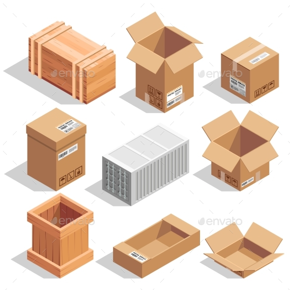 Different Big Delivery Packages - Objects Vectors