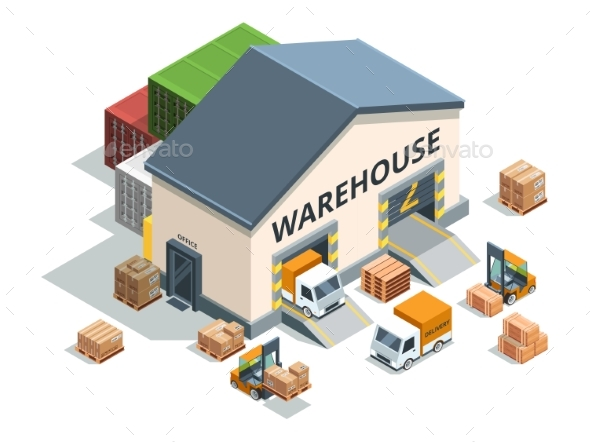 Warehouse Building, Trucks and Load Machines - Objects Vectors