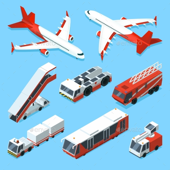 Airplanes Set and Other Support Machines - Objects Vectors