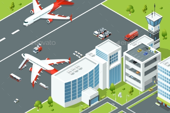 GraphicRiver Airport Controls Buildings of Aircraft Plane 20232719
