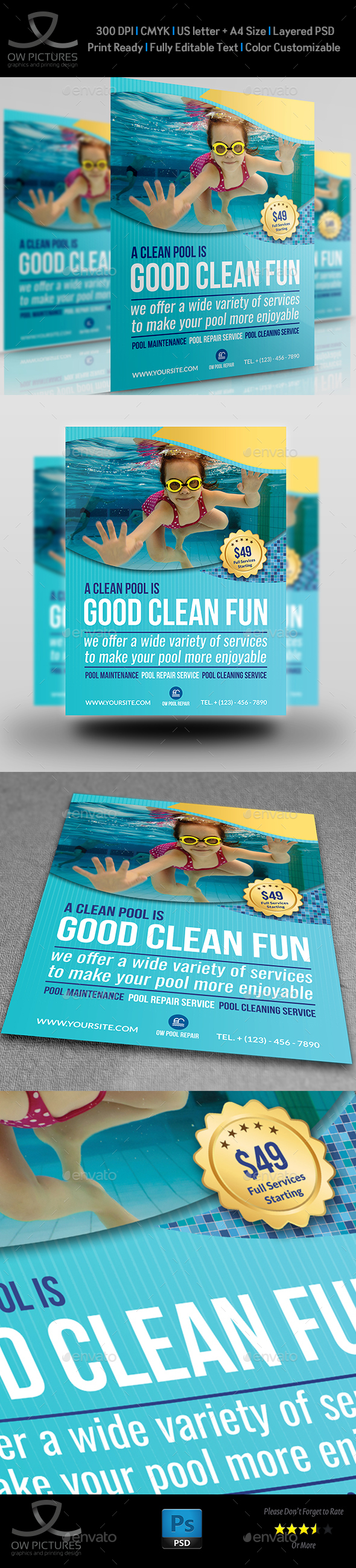 Swimming Pool Cleaning Service Flyer Template - Flyers Print Templates