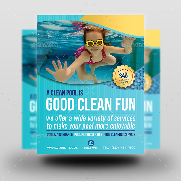 Swimming Pool Cleaning Service Flyer Template By