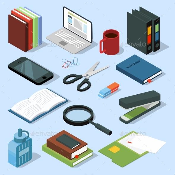 3d Office Equipment Isometric Set. Books, Folders - Objects Vectors