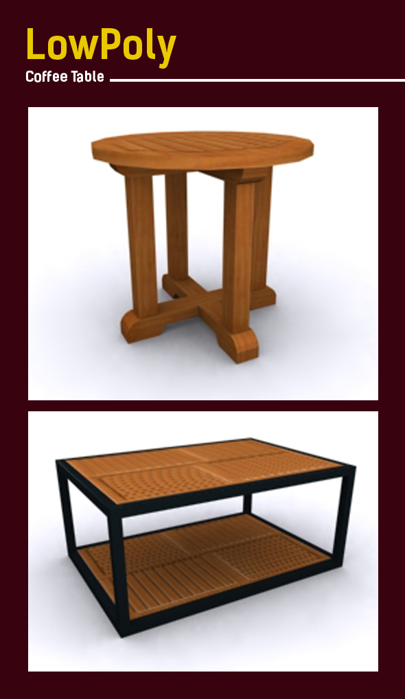 3D lowpoly coffee table model - 3DOcean Item for Sale