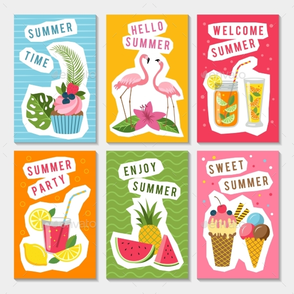 Vector Summer Party Labels Set with Different - Objects Vectors