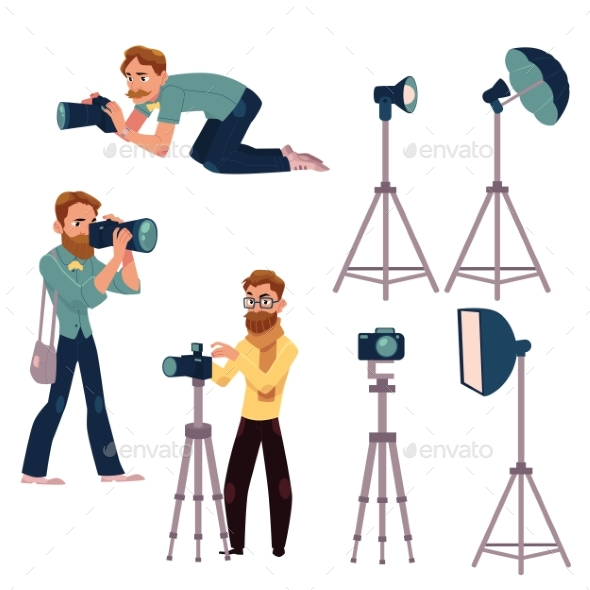 GraphicRiver Set of Cartoon Photographers at Work 20232851