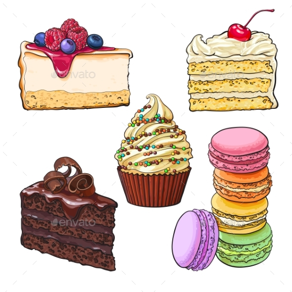 Set of Desserts - Cupcake, Chocolate and Vanilla - Food Objects