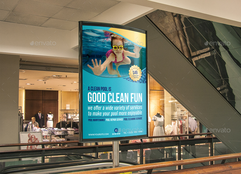 Swimming pool cleaning service poster template by for Pool design templates