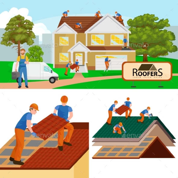 Roof Construction Worker Repair Home, Build - People Characters