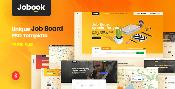 Jobook - A Unique Job Board Website PSD Template - PSD Templates
