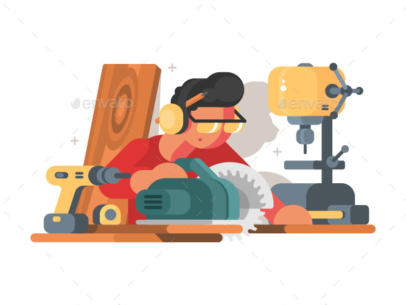 Woodworker Man at Workplace - Characters Vectors