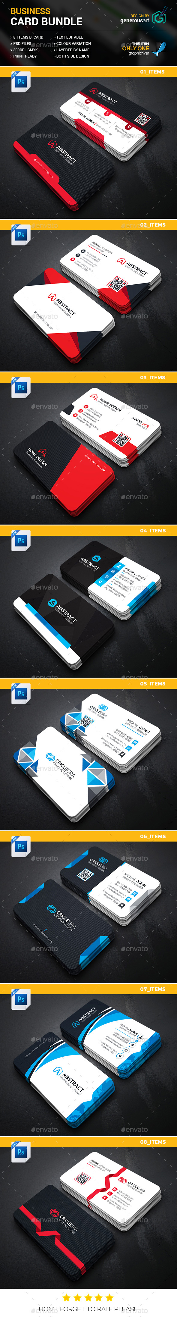 B. Card Bundle 8 in 1 - Business Cards Print Templates