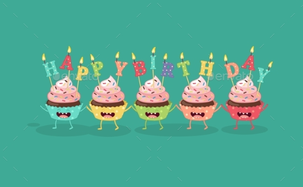 Happy Birthday Card with Number 10 Candle.vector - Backgrounds Decorative
