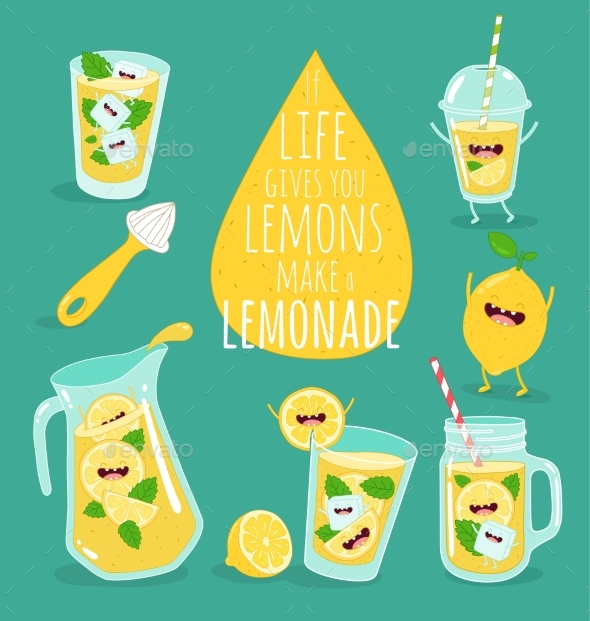 Funny Lemon with Juicer and Glass of Lemonade - Food Objects