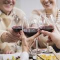 Happy family toasting granparents anniversary