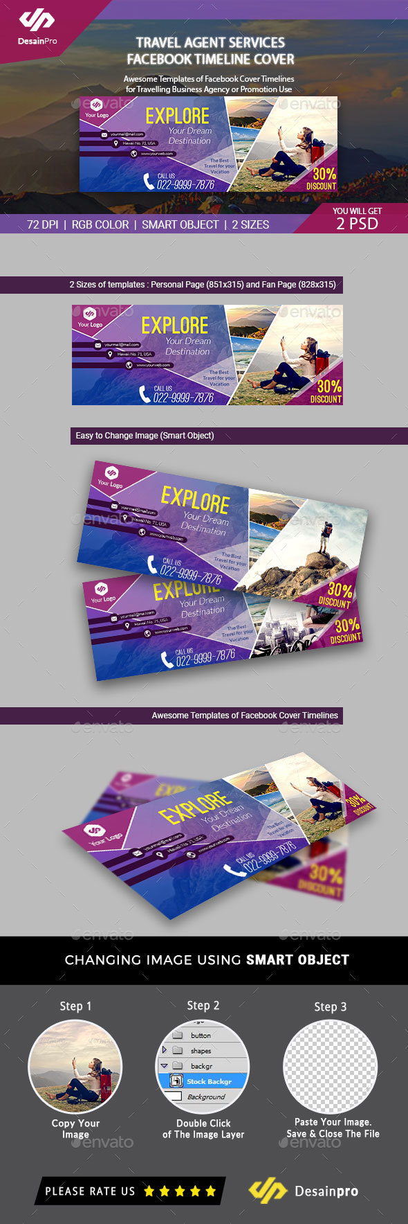 GraphicRiver Travel Agent FB Cover Timeline Template 20233553