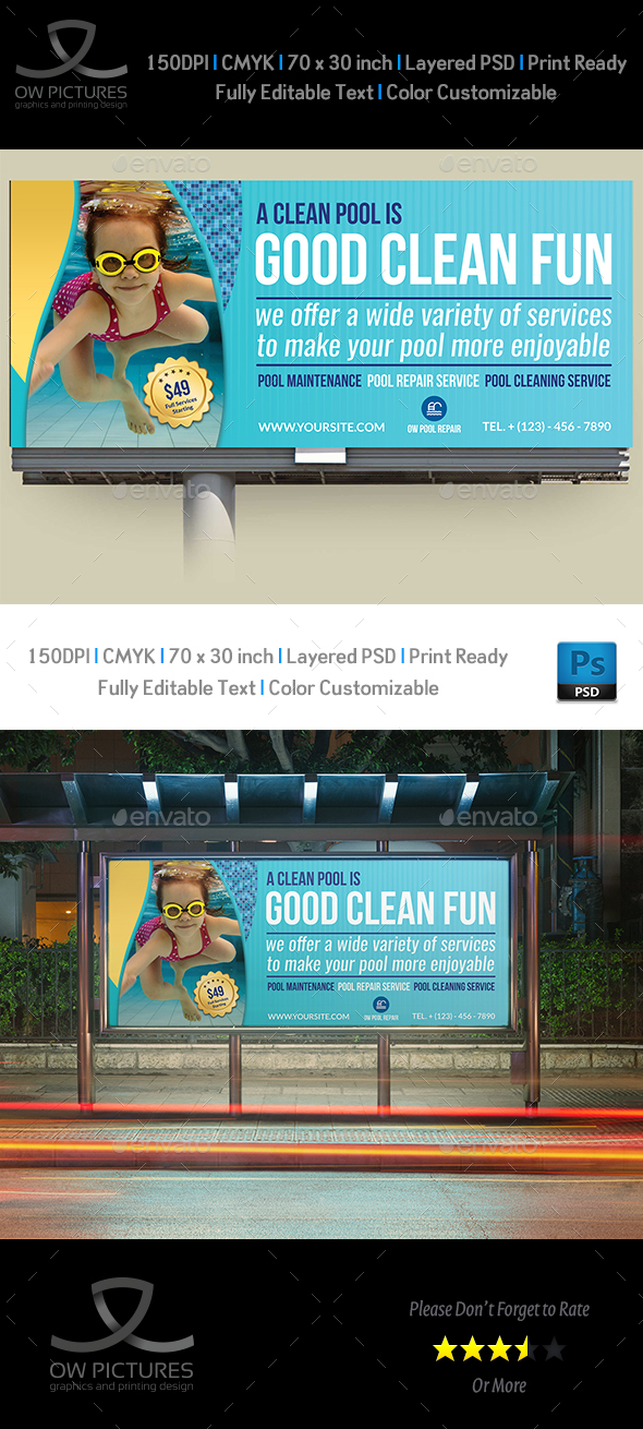 Swimming Pool Cleaning Service Billboard Template - Signage Print Templates