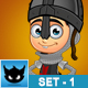 Boy Black Knight Character - Set 1 - GraphicRiver Item for Sale
