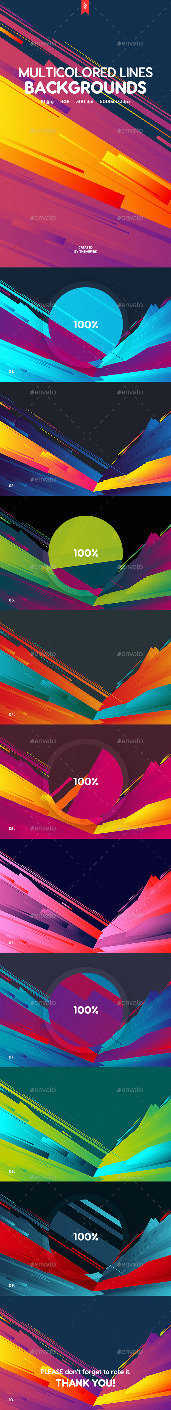 Abstract Multicolored Flat Layered Lines Backgrounds